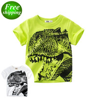 free ship 2019 New Summer dinosaur printed baby white green ...