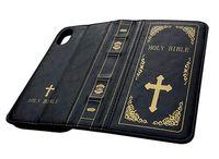 아이폰 엑스 X Xs에 대 한 거룩한 성경 케이스 아이폰 6s 7 8 플러스 빈티지 책 지갑 플립 커버에 대 한 가죽 지갑 케이스
