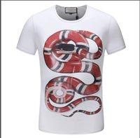 19sS Sommer Mode Designer Marke Männer T-Shirt T-Shirt Garten 3D Snake Tier Brief Drucken Tshirt Kurzarm Tees Casual Top Qualität