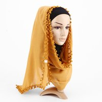 Roupas étnicas Moda Feminina Mulheres Algodão Linho Linho Pompom Muslim Hijab Islamic Dubai Árabe Marrocos Ramadã xales Headwear VKHJ1015