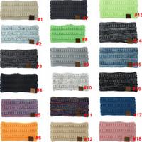 19colors lavorato a maglia fascia del Crochet Coda di cavallo Donne Sport invernali Headwrap Hairband Turbante scaldino dell'orecchio Beanie Lettera Fasce LJJA3174