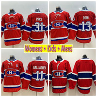 2019 Ladies Montreal Canadiens Hockey Maglie 31 Carey Price 11 Brendan Gallagher 13 Max Domi Bambini Mens Womens Home Red Stitched Shirts