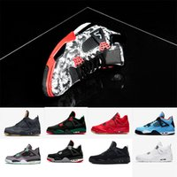 Wholesale 4s 4 Basketball Shoes Denim Tattoo UNC white cemen...