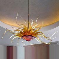 Led Flower Flor Chandelier Iluminação 40 por 20 polegadas Lâmpada Hotel Dining Sala Feito à mão Blown Art Teto Lâmpadas Itália Pingente luzes