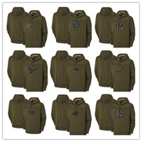 2019 Salute to Service-Olive Männer Hoodie Green Bay Chicago Packer Bär Minnesota Kansas City Viking Chef Pullover Houston Sweatshirt Texan