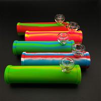 Силиконовый бонг со стеклянной чашей Роликовая труба dab rig для сухой травы 8.27 дюймов аксессуары для курения мини кальяны ручная труба