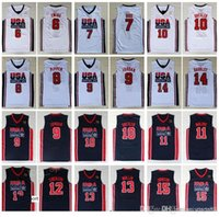 1992 Equipo US Camisetas de baloncesto Dream One Larry Bird Michael Patrick Ewing Scottie Pippen Clyde Drexler John Stockton Malone Johnson