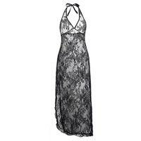 블랙 레드 레이스 꽃 긴 가운 드레스 플러스 크기 S M L XL XXL 3XL 4XL 5XL 6XL 여성 섹시 란제리 투명 잠옷 가운