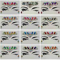 الماس ملصق بوهيميا نمط بريق الكريستال ملصقات الوشم للنساء الوجه الجبين المقرب الزفاف ديكورات 13 أنماط RRA1183