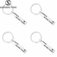 Creative Remove Before Flight Keychain Flight Airlines Airport Kiss Me Before Flight Stainless Steel Keychain Couple Gift Key Ring Jewelry