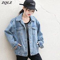 Jaquetas femininas zqlz streetwear denim jaqueta mulheres 2021 outono jean casaco feminino casual preto vintage casaco mujer mola