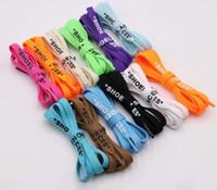 """Nuevos 8mm plana cordones hechos a mano Impresión """"CORDONES"""" Negro Blanco Naranja OW cordones de los zapatos zapatillas de deporte firmados cordones de las botas de bricolaje"""