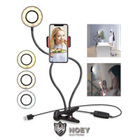 Support de téléphone support USB LED Light Ring selfie pour Youtube Maquillage en direct Diffusion en direct de maquillage Lazy Support bureau téléphone avec Noey d'emballage au détail