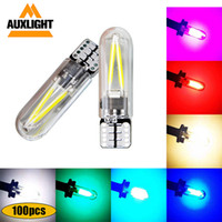 100X T10 168 194 W5W 필라멘트 조명 COB LED 유리 쉘 웨지 자동 주차 전구 자동차 독서 돔 램프 DC12V