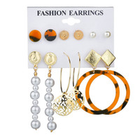 Mix Hoop Studs Dangle Küpe Seti İçin WomenTassel İnci Küpe Moda Geometrik Bildirimi Dangle Damla Küpe