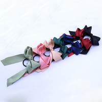 6 Цвет лето способа веревочки хвостик шарф Упругих волосы для женщин Bands волос бабочек Scrunchies волос Цветочных печати лента Hairbands L