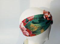 2019 Luxus-Designer 100% Seide Kreuz Stirnband-Frauen-Mädchen-elastische Haar-Bänder Retro Turban Headwraps Geschenke Blumen Hummingbird Orchideen