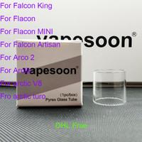 Authentique tube en verre VapeSoon Normal pour Horizontech Falcon King 2 ml Falcon MINI artisan Arco 2 Arctic V8 TANK DHL gratuit