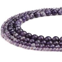 Naturlig ametist sten rund ädelsten lösa pärlor handgjorda pärla semi värdefulla natursten pärlor för kvinna DIY armband smycken gör 15