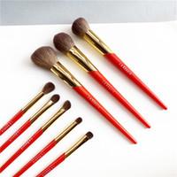 فرش ماكياج La Beaute Chinese-Red Brush Set - Saihoko Goat Hair 8-Brushes Face Eye Kit
