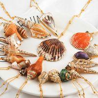20 Stilleri Seashell Kolye İlk Kolye kadın Bildirimi Jewlery Kadınlar için Geometrik Çok 2 katmanlı Kabukları Gerdanlık Kolye