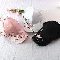 Вышивка Цветок Snapback Болл Caps Мода унисекс Регулируемое Golf Baseball Hat Хлопок Открытый Plum Blossom Sun Шляпы LJJ_TA682