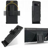 Clip Cinturón de pie Armadura de armadura Casos de defensor para Samsung Galaxy S10 Plus S10E S9 S8 S7 S6 Edge S5 Note 3 4 5 8 9 Funda de piel híbrida a prueba de golpes 120pcs