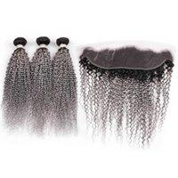 Silanda Hair Ombre #t 1b / gris Kinky Remy Remy Human Hair Weave 3 paquetes de tejido con 13x4 Frontals Frontals Free Envío