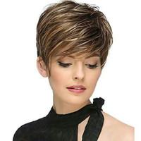 FREE SHIPPING الأزياء باروكة شقراء قصير مستقيم الملونة BlondeBrown Fulll الباروكات أعلى جودة الباروكات