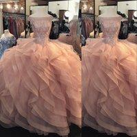 Peach Quinceanera Платья Бальное платье с плечевой кристаллов из бисера яруированные оборки пухлые тюль плюс размер сладкий 16 длинные вечеринки PROM вечерние платья