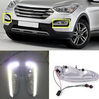 2pcs Para Hyundai Santa Fe IX45 2013-2015 carro branco Beads luz de circulação diurna DRL Cover conjunto diy
