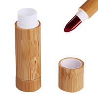 빈 대나무 립스틱 튜브 재충전 가능한 립 밤 립글로스 튜브 홀더 DIY 용 뚜껑을 가진 용기 화장품 여행 일상 생활