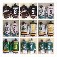 Patos Mighty do vintage dos homens CCM de Anaheim selvagem asa Jersey 9 Paul Kariya 8 Teemu Selanne Retro costurado camisas de hóquei barato
