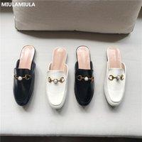 MIULAMIULA Design Размер 35-40 жемчужные Металлические цепи Плоской кожаные Тапочки нескользкие на Мокасины Мулы Шлепанцы Женщины Слайды