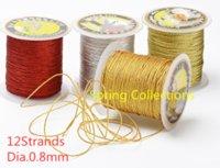 الغزل 5colors 12strands مضفر الذهب موضوع، Dia.0.8 ملليمتر الصينية عقدة الحبل سلسلة ل diy الحرف اليدوية أداة اليد خياطة الموضوع