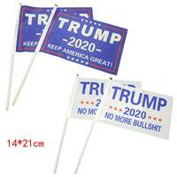 2020 Donald Trump Amerikan Bayrağı ABD Başkan flagstaff ile 14 * 21cm Amerika Büyük Banner Flags tutun