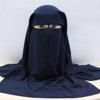 Musulmanes del pañuelo de la bufanda islámica 3 capas niqab burka capo Hijab Cap velo Headwear Negro cara cubierta Abaya ajuste al estilo de cubierta para la cabeza