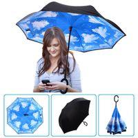 Impermeabile Logo Reverse ombrello pieghevole personalizzato creativo pieghevole C-type Ombrello antivento di protezione solare portatile Umbrella DH0620 T03