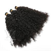Peruana Mongulian I Tip Duplo Drawn Afro Kinky Curly 100 fios Pré Bonded Vara I ponta queratina Fusão Remy Virgem extensão do cabelo humano
