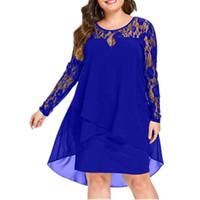 Kadın Artı Boyutu Şifon Elbiseler Kadın Yeni Moda Şifon Yerleşimi Üç Çeyrek Kol Dikiş Düzensiz Hem Dantel Elbise