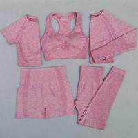 5 unids mujeres vital conjunto de yoga conjunto entrenamiento deporte desgaste gimnasio ropa corta / de manga larga top top altos cintura leggings deportes traje