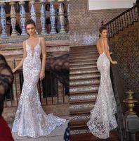 Berta Tam Dantel Deniz Kızı Gelinlik Seksi Dalma V Yaka Backless Illusion bodices Düğün Gelin Modelleri Moda Yeni Gelinlikler