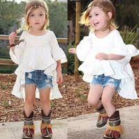Toddler Baby Girls Mini abito bianco con volant Manica svasata Top in cotone Bambini Ruffles per feste di nozze Abiti da spettacolo Sundress 1-6Y
