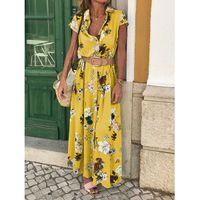 Kadın Yaz Çiçek Baskı Maxi Elbise Boho Tarzı Plaj Parti kısın Boyun Tek göğüslü Kemer Artı Boyutu 2XL Uzun Vestidos