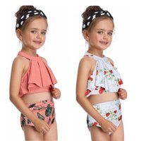 Baby Girl Swimwear Off Shoulder Girls Bikini Sets Backless K...