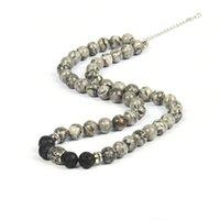 8mm neue natürliche Karte Stein Halskette für Männer Frauen Edelstahl-Silber-Halskette Beste Yoga-Schmucksachen für Geschenk