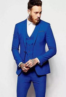 Hot Sale Royal Blue Groom Tuxedos Notch Lapel Groomsmen Mens...