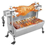 آلة الفولاذ المقاوم للصدأ شواء الفحم خنزير مشوي البصاق المشواة الكباب الشواء متعدد الوظائف الكهربائية شواء 220V