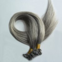 U наконечник человеческих волос 200 г/лот предварительно связали человеческих волос серый 200s Remy кератин европейских человеческих волос на капсуле