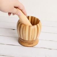 Pilão Grinding Bowl Set bambu Almofariz E Pilão Pedestal Bacia Garlic Pot Pepper Mill Ferramentas Ferramentas de cozinha ZC1782
